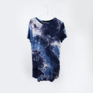 Forever 21 Blue Tie Dye Mini T-Shirt Dress Small